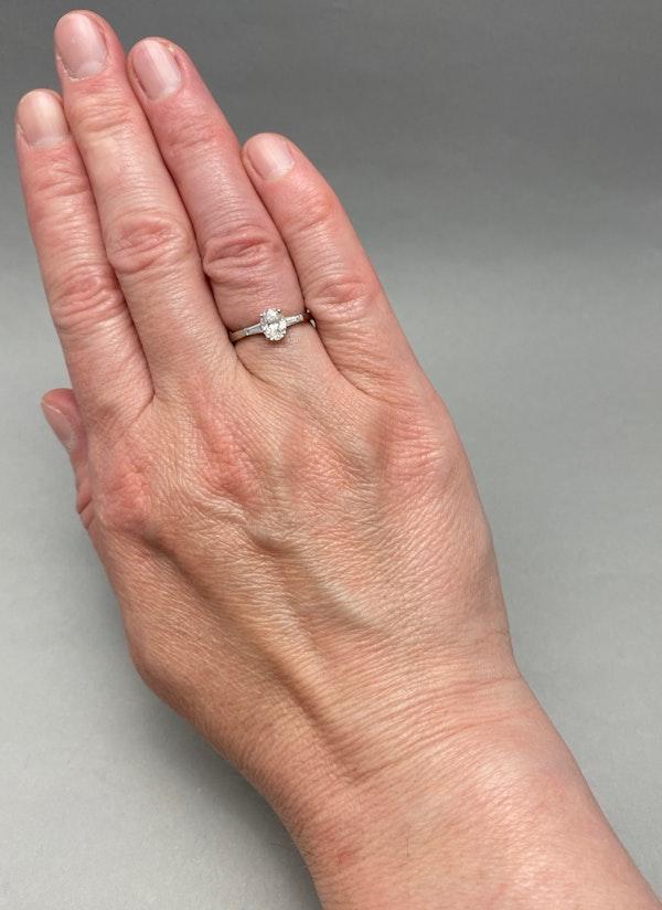 Diamond Ring in Platinum Oval Cut Diamond 0.70ct date London 2006 SHAPIRO & Co since1979 - image 3