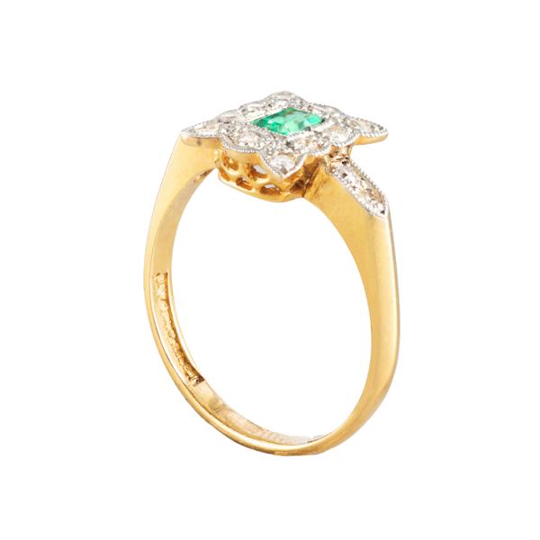 An Antique Emerald Diamond ring - image 2