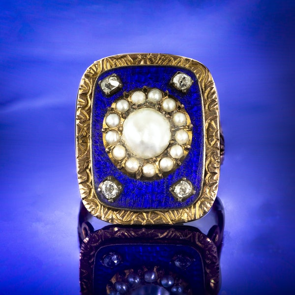 A Blue Enamel and Pearl Diamond ring - image 1