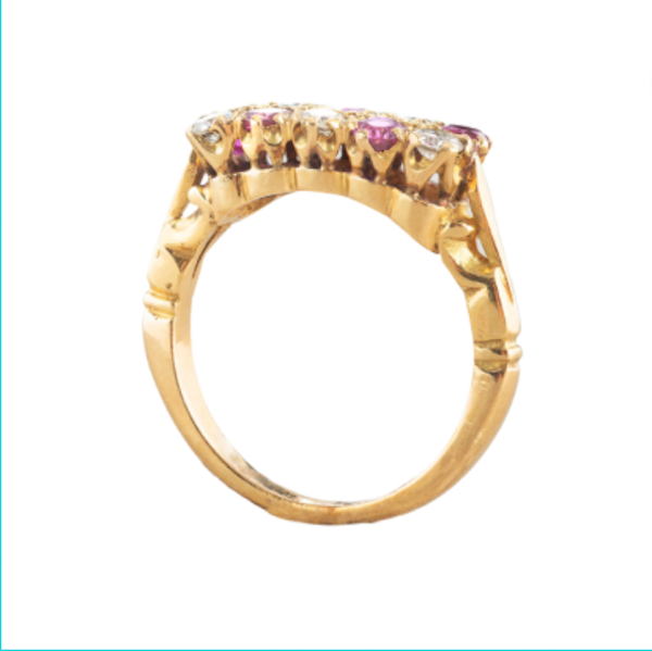 A Victorian Ruby and Diamond Chequerboard ring - image 2