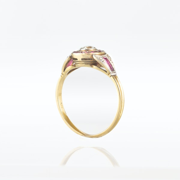 An Art Deco Diamond Target ring with Ruby halo - image 2