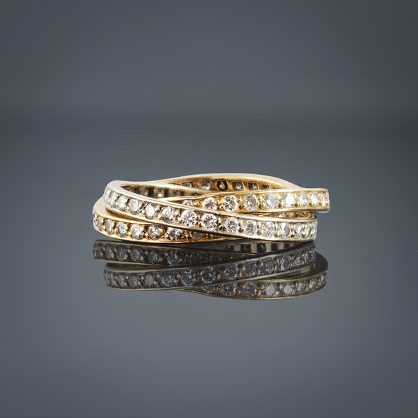 Gold Russian Wedding Ring set with Diamonds - image 1