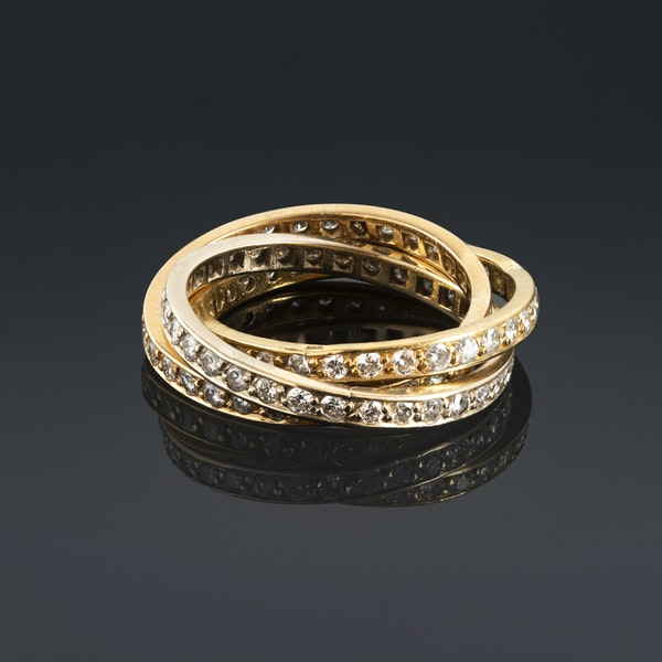 Gold Russian Wedding Ring set with Diamonds - image 2