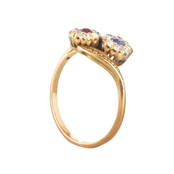 A Sapphire and Ruby Double Cluster ring - image 2