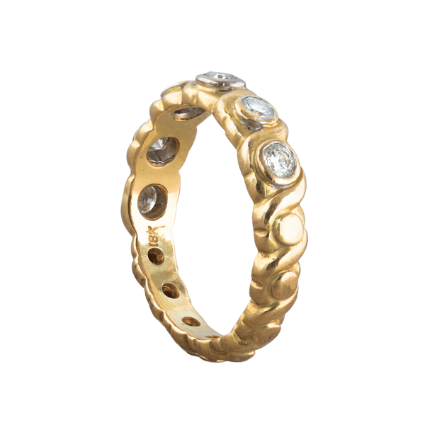 A six stone Diamond Gold ring band - image 2
