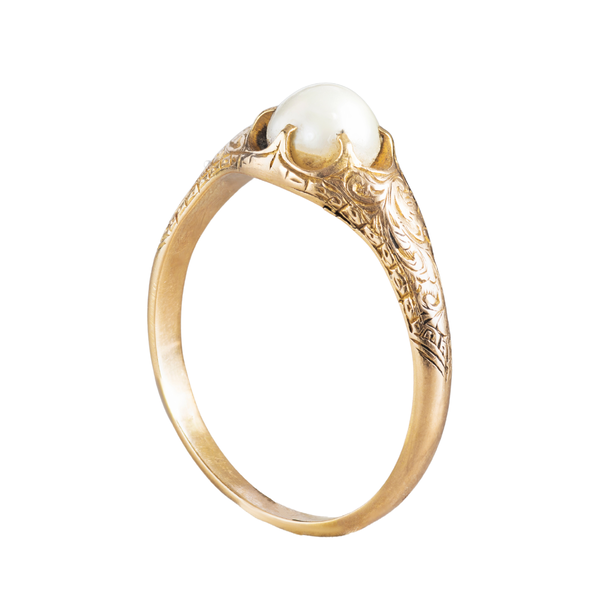 A Gold Foliate engraved Pearl ring - image 2