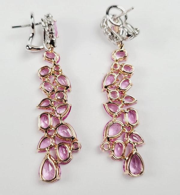 Pink sapphire and diamond drop earrings sku 4859  DBGEMS - image 2