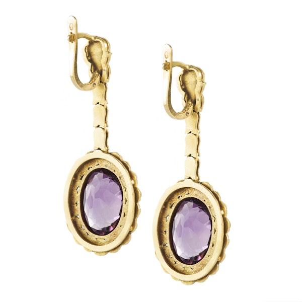 A pair of Amethyst Gold Earrings - image 2