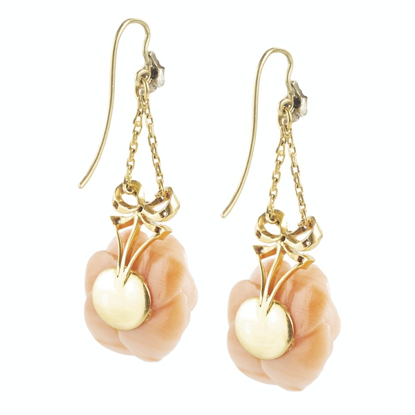 A pair of Coral Rose Gold Drop Earrings - image 2