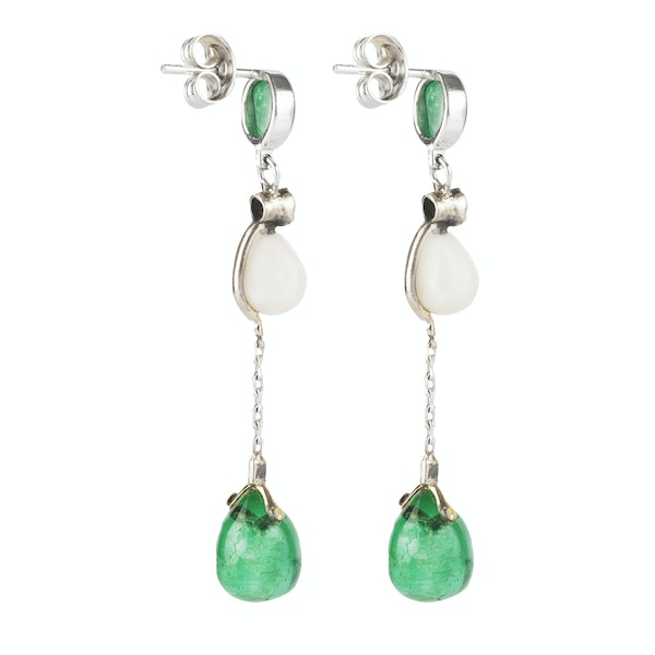 A pair of Emerald Cobachon and Natural Pearl Drop Earrings - image 2