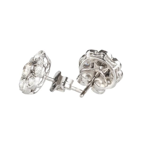 A pair of Diamond Cluster Stud Earrings - image 2