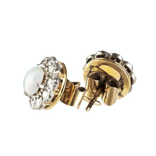 A pair of Opal Diamond Stud Earrings - image 2