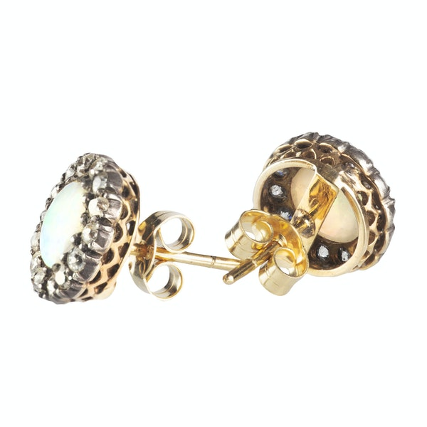 A pair of Opal Diamond and Gold Stud Earrings - image 2