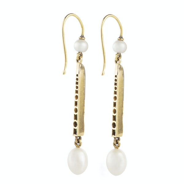 A pair of Emerald and Pearl Diamond Drop Earrings - image 2