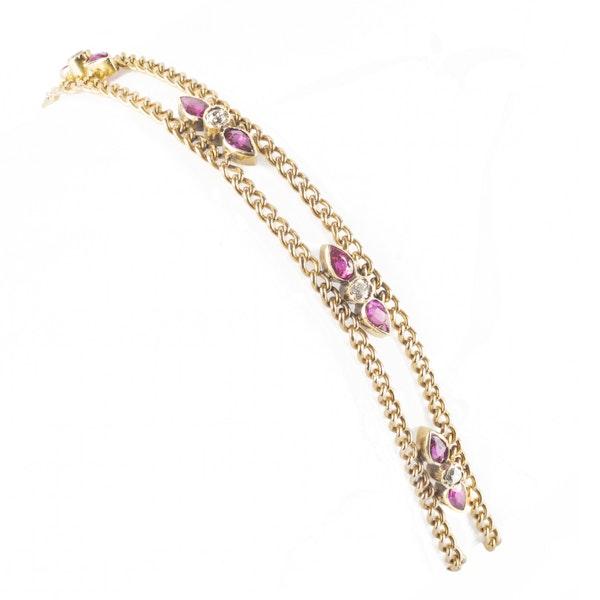 A Ruby and Diamond Gold Bracelet - image 2
