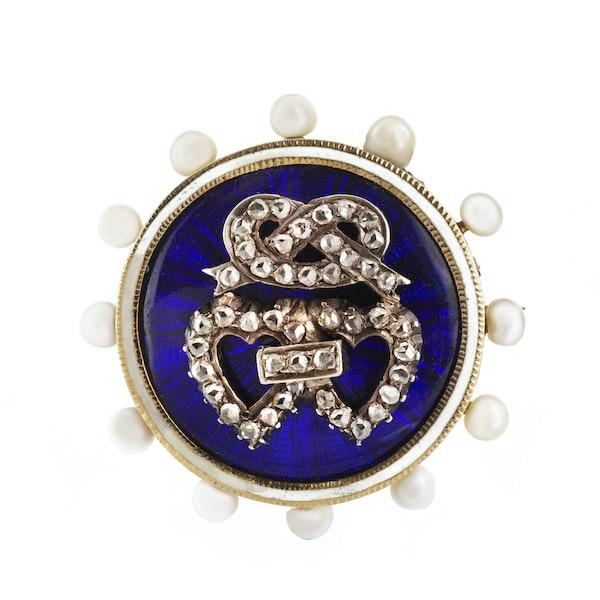 A Double Heart Enamel Pearl Diamond Brooch - image 1