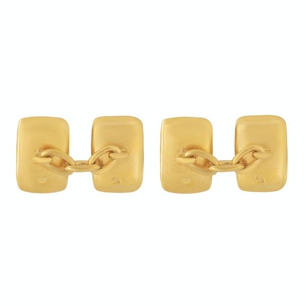 A pair of Rectangular Gold Cufflinks - image 2