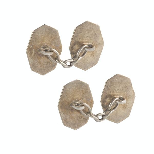 A pair of Silver Green Enamel Cufflinks - image 2