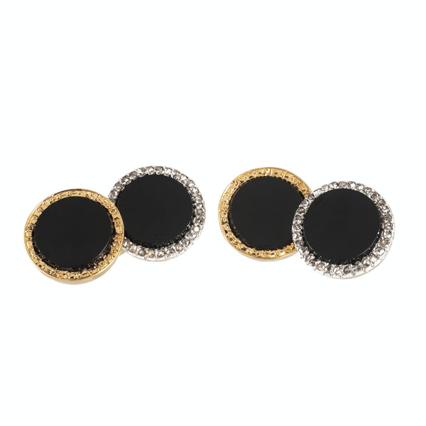 A pair of French Night and Day Onyx Diamond Cufflinks - image 2