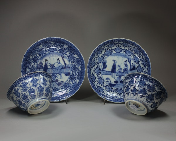 Pair of Chinese blue and white bowls and saucers, Kangxi (1662-1722) - image 1