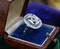 """A very substantial """"Art Deco"""" style Oval Diamond and Sapphire Plaque Ring, Mid to late 20th century. Pre-owned - image 2"""