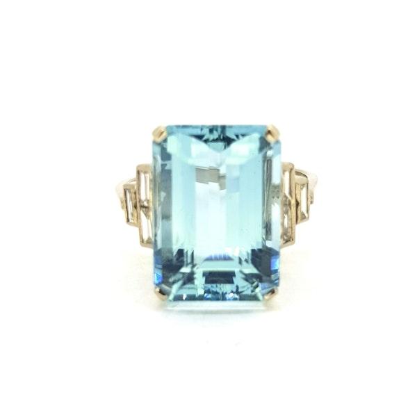 Art Deco Aquamarine ring - image 3