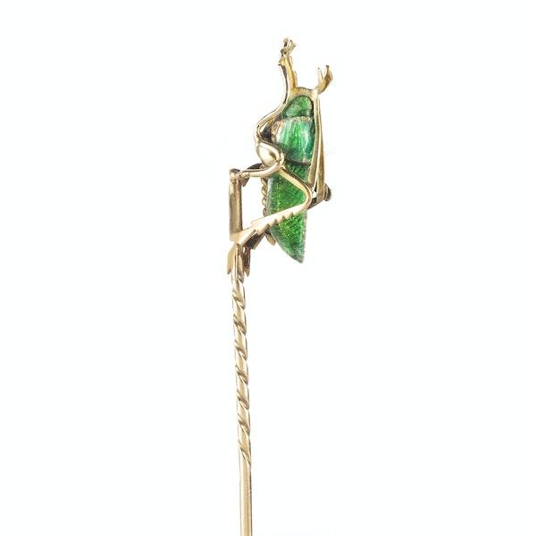 A Gold and Green Enamel Diamond Grasshopper Tie Pin - image 2