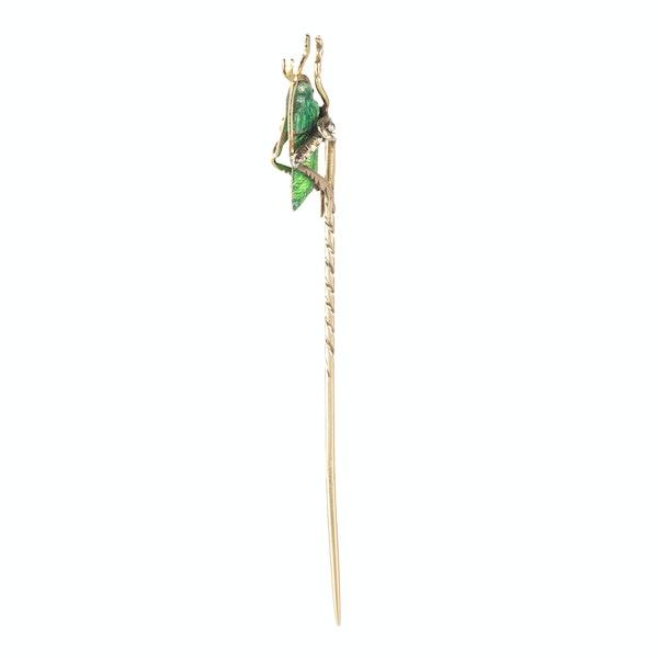 A Gold and Green Enamel Diamond Grasshopper Tie Pin - image 1