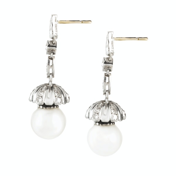 A pair of Pearl and Diamond Drop Tulip Earrings - image 2