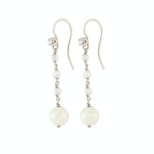 A pair of Diamond and Opal Drop Earrings - image 2