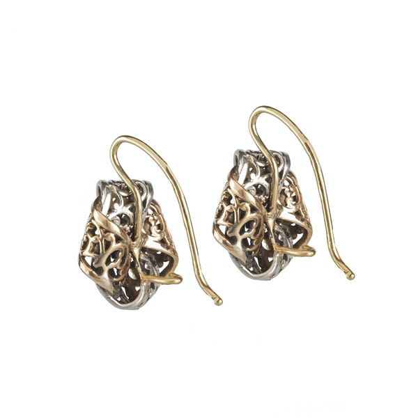 A Pair of Platinum and Gold Earrings - image 2