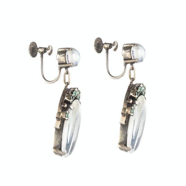A Pair of Moonstone and Zircon Drop Earrings - image 2