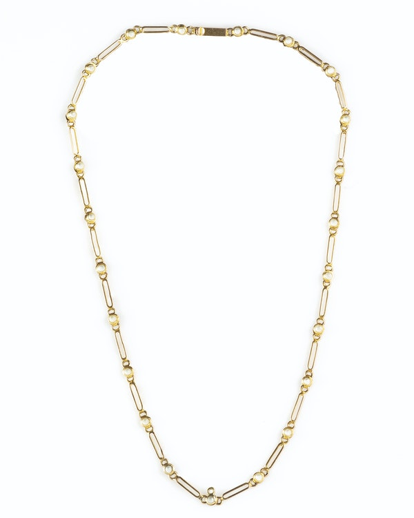 A Gold Pearl Chain Necklace - image 1
