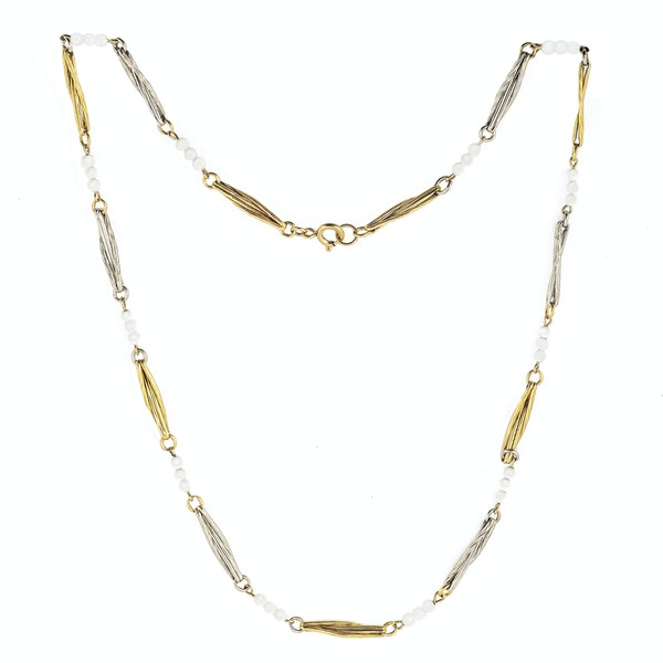A Pearl, Platinum, and Eighteen Carat Gold Necklace - image 2