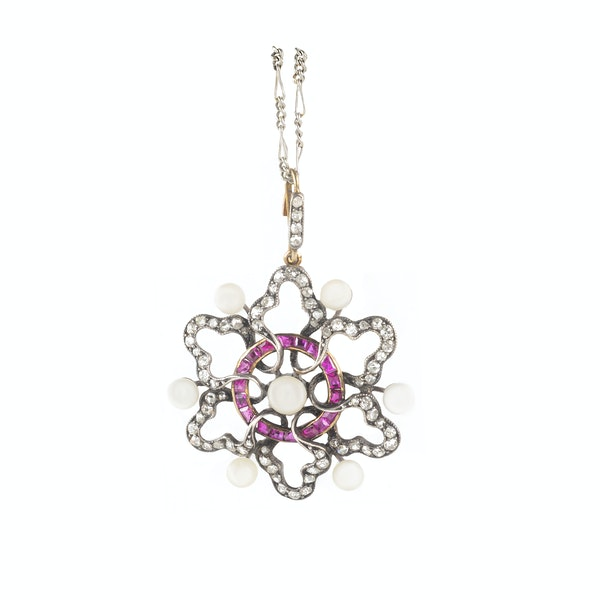 A Ruby, Pearl and Diamond Necklace - image 2