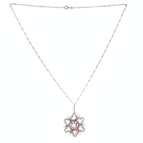 A Ruby, Pearl and Diamond Necklace - image 1