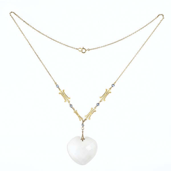 A Gold and Rock Crystal Heart Pendant Necklace - image 1