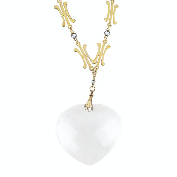 A Gold and Rock Crystal Heart Pendant Necklace - image 2
