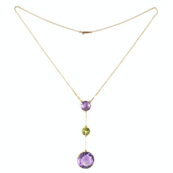 An Amethyst and Peridot Gold Necklace - image 2