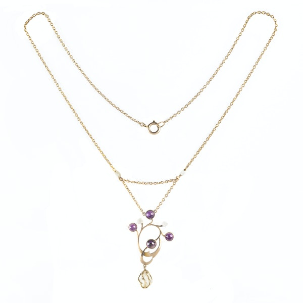 A Gold, Amethyst and Pearl Drop Necklace - image 2