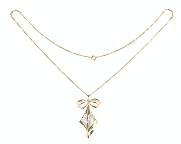 A Diamond and Gold Bow Necklace - image 2