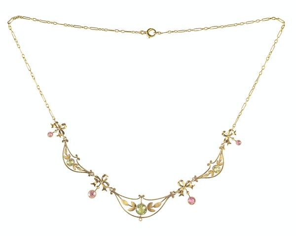 A Fifteen Carat Gold Peridot Tourmaline Necklace - image 2