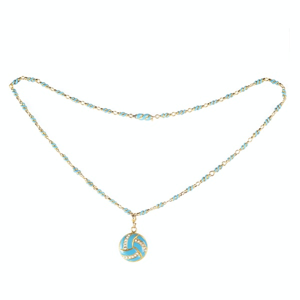 A Turquoise, Natural Split Pearl and Gold Locket Necklace - image 2