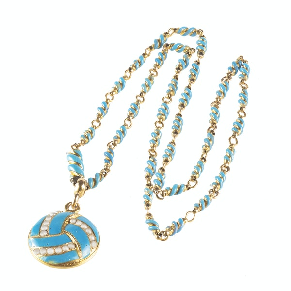 A Turquoise, Natural Split Pearl and Gold Locket Necklace - image 1
