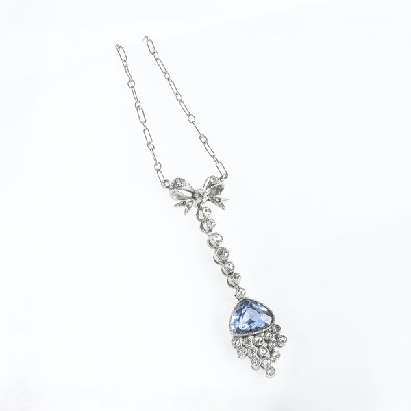 A Sapphire and Diamond Platinum Necklace - image 2