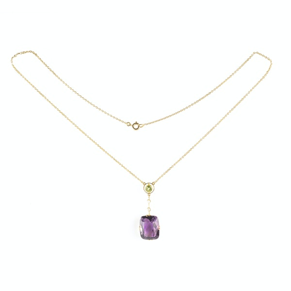 A Suffragette Peridot and Amethyst Necklace - image 1