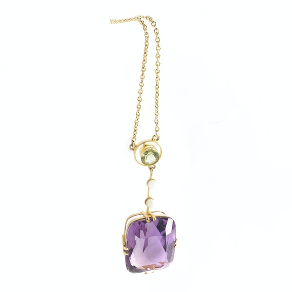 A Suffragette Peridot and Amethyst Necklace - image 2