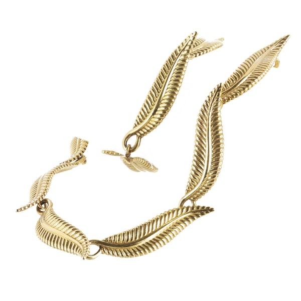 A Gold Leaf Collar Necklace - image 2