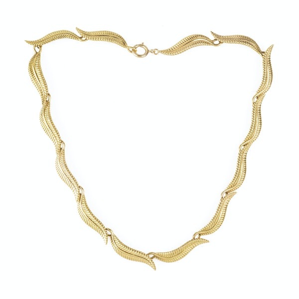 A Gold Leaf Collar Necklace - image 1