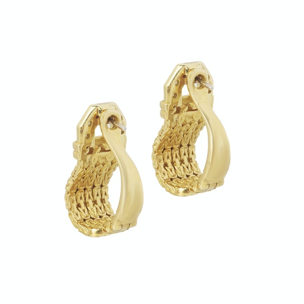 A pair of Gold Diamond Earrings - image 2